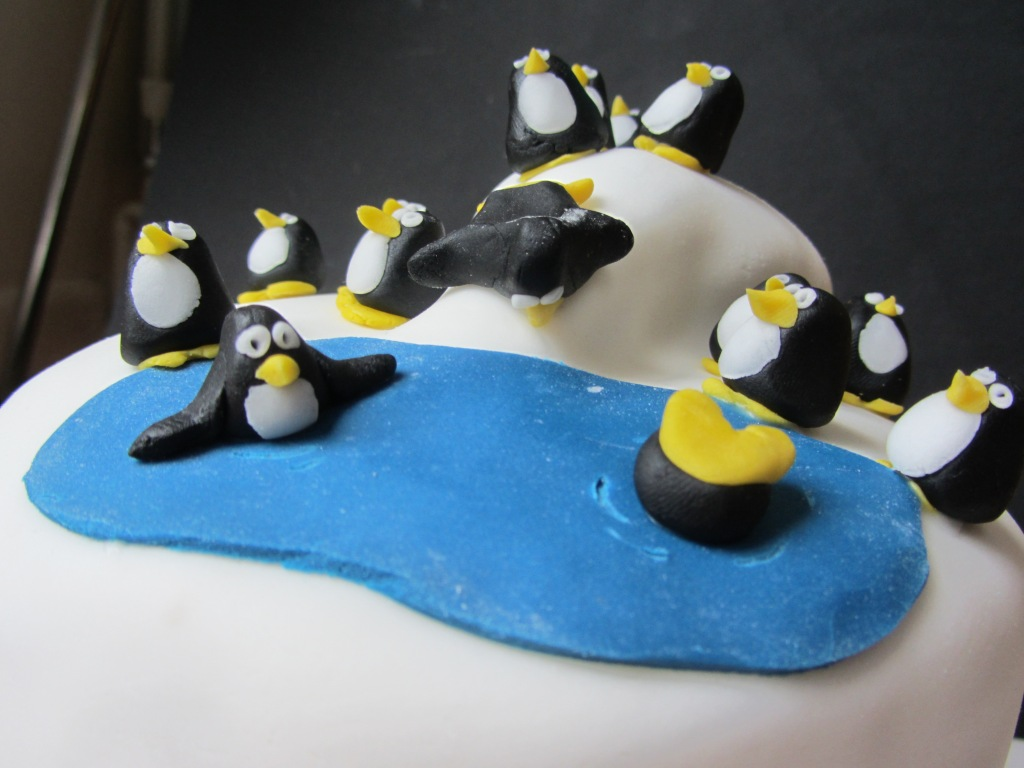 Penguin Themed Birthday Cake