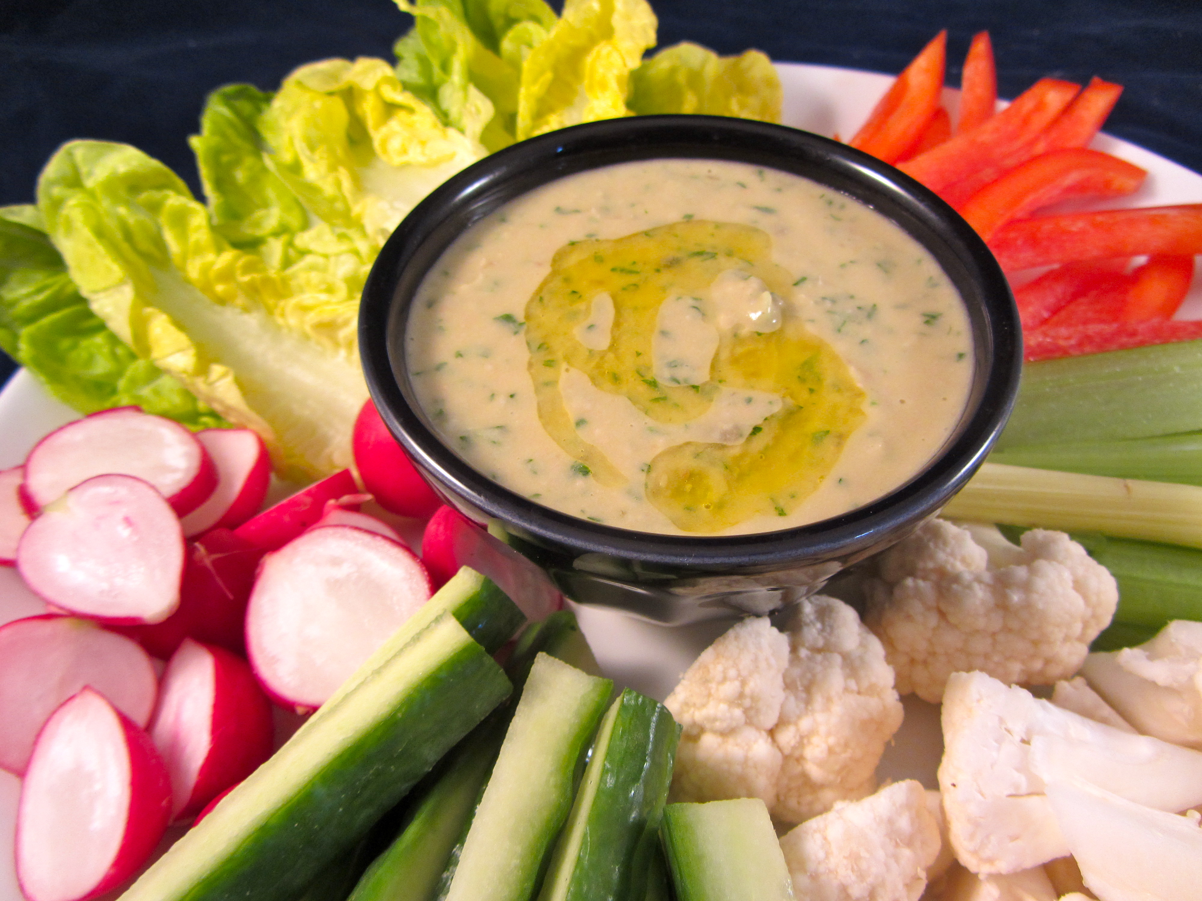 Warm Spinach-White Bean Dip With Crudites Recipe — Dishmaps