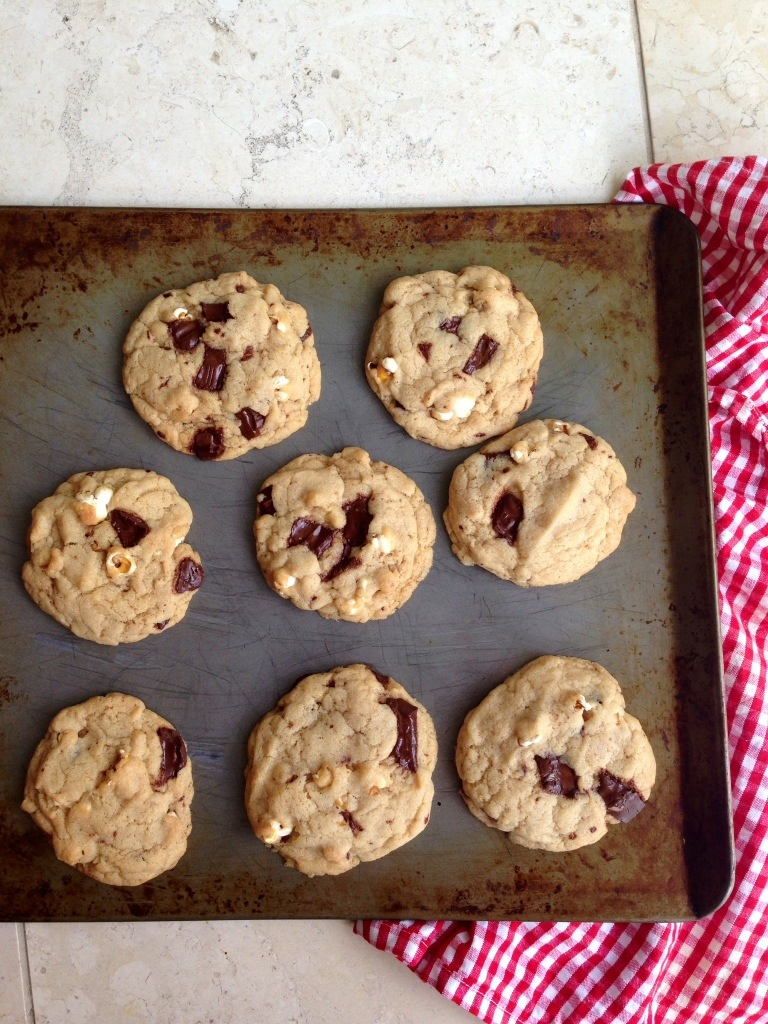 chocolate caramel popcorn cookies, dairy free, egg-free