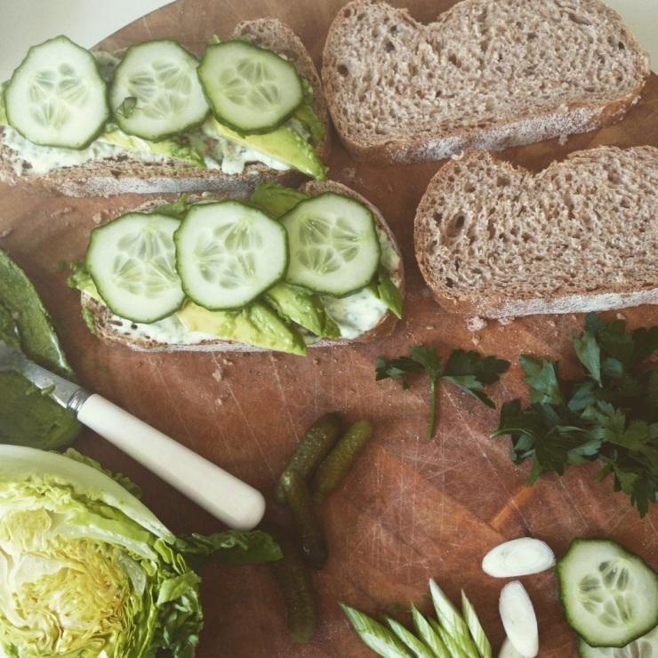 constructing a Green Goddess Sandwich