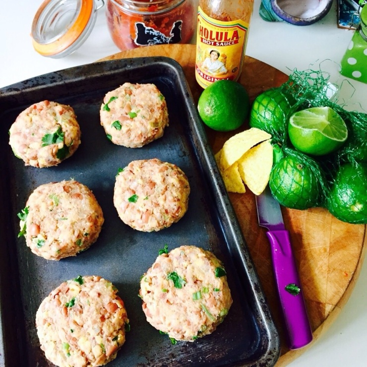 Mexican Spiced bean burgers