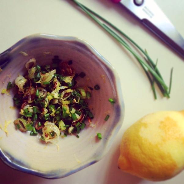 chive and spring onion gremolata