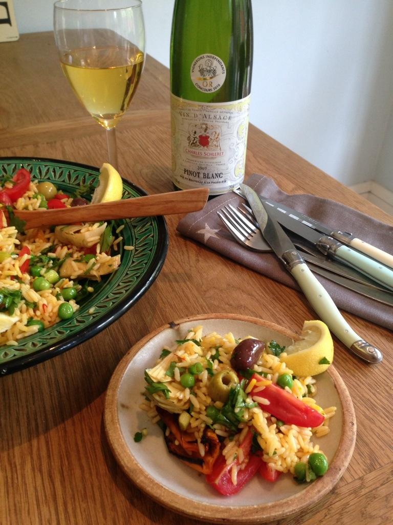 vegan paella salad