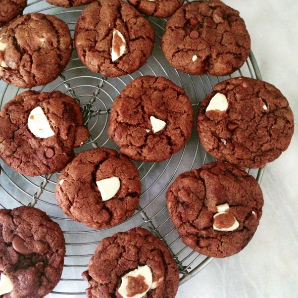 dairy-free, egg-free triple chocolate chip cookies