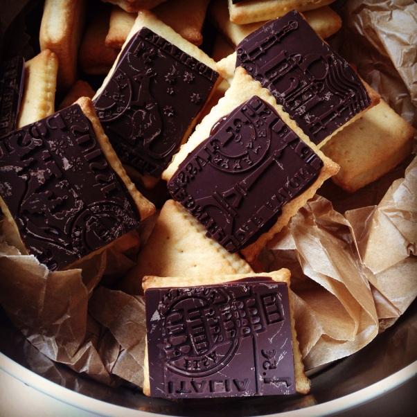 vegan chocolate coated petit beurre cookies