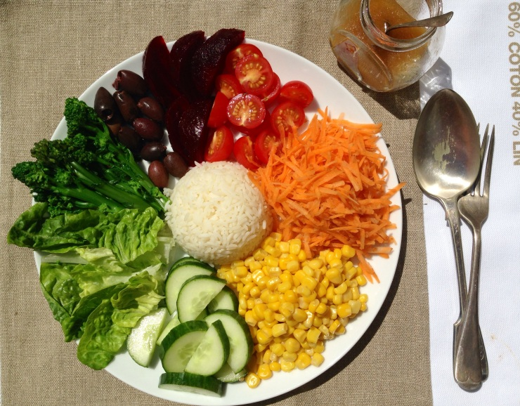 rainbow salad plate, vegan
