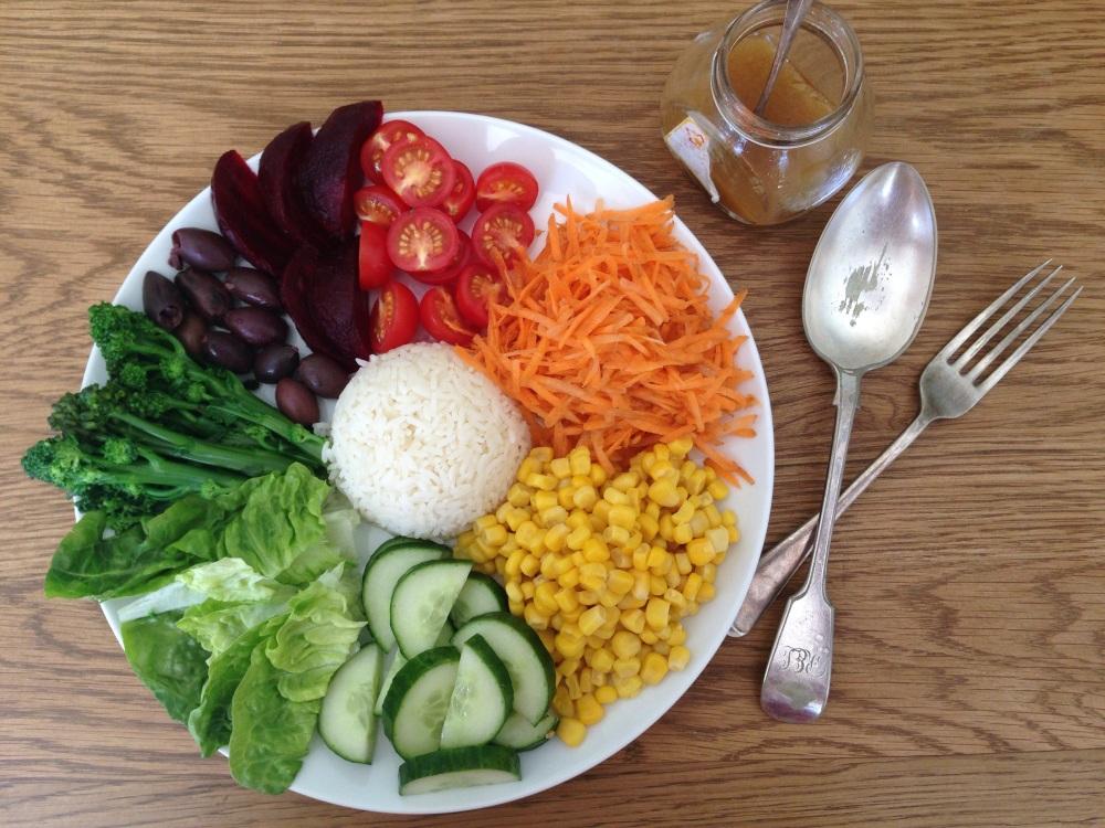 rainbow salad bowl, dairy-free