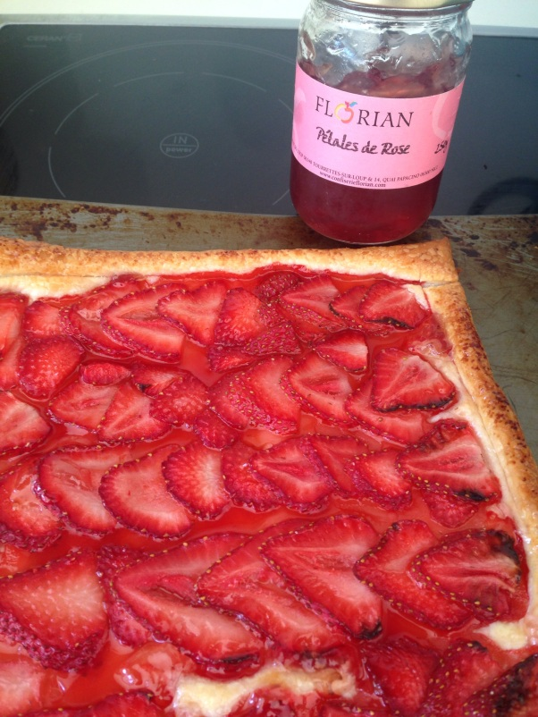 vegan strawberry and rose puff pastry tart
