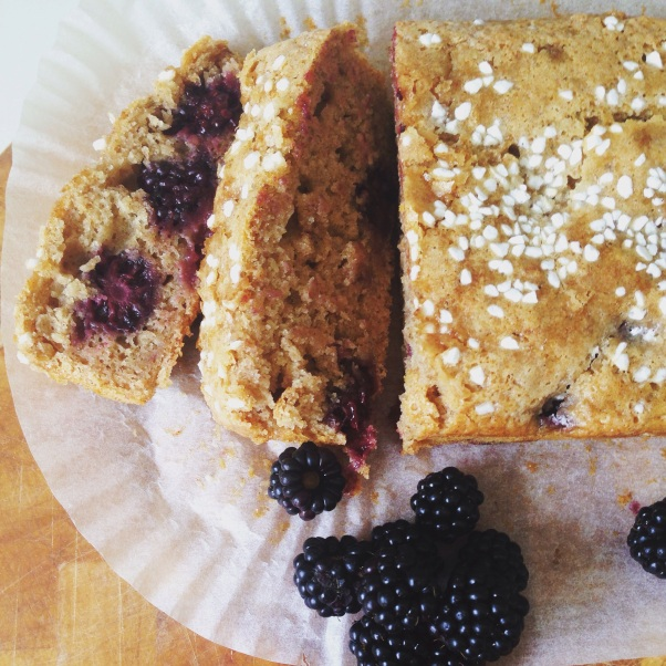 dairy-free, egg-free banana and blackberry loaf