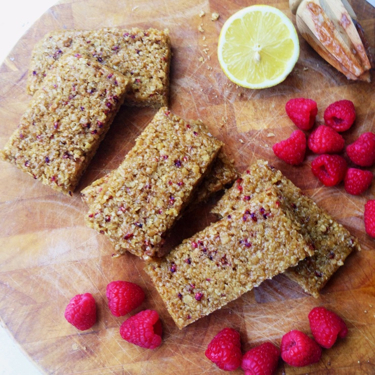 vegan raspberry and lemon flapjacks