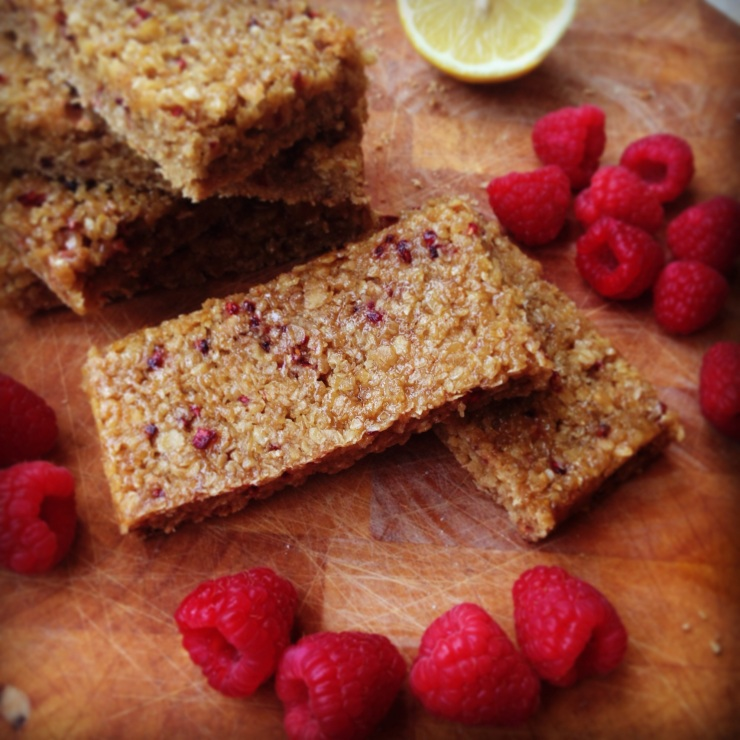 dairy-free, egg-free, nut-free raspberry and lemon flapjacks