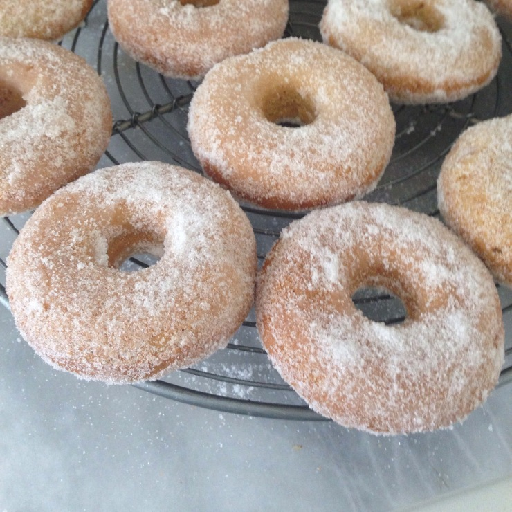 vegan baked sugar coated doughnuts