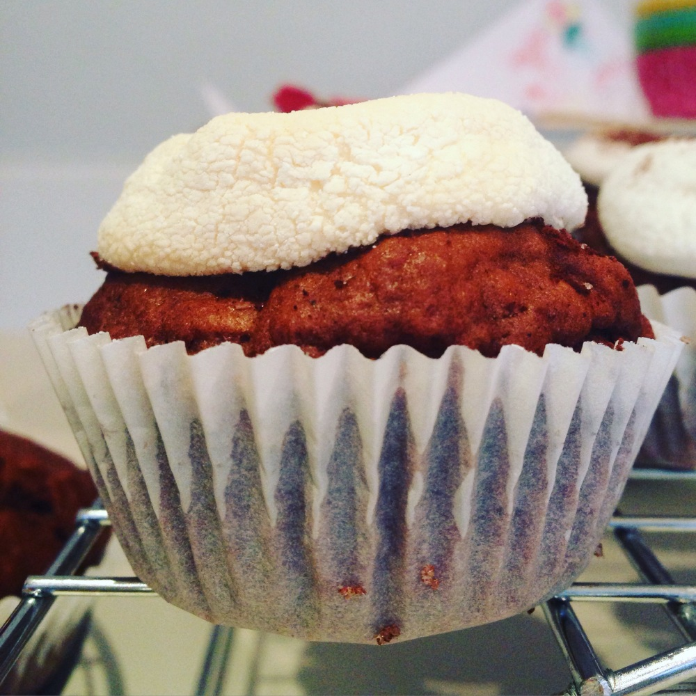 egg-free hot chocolate muffins with marshmallow top