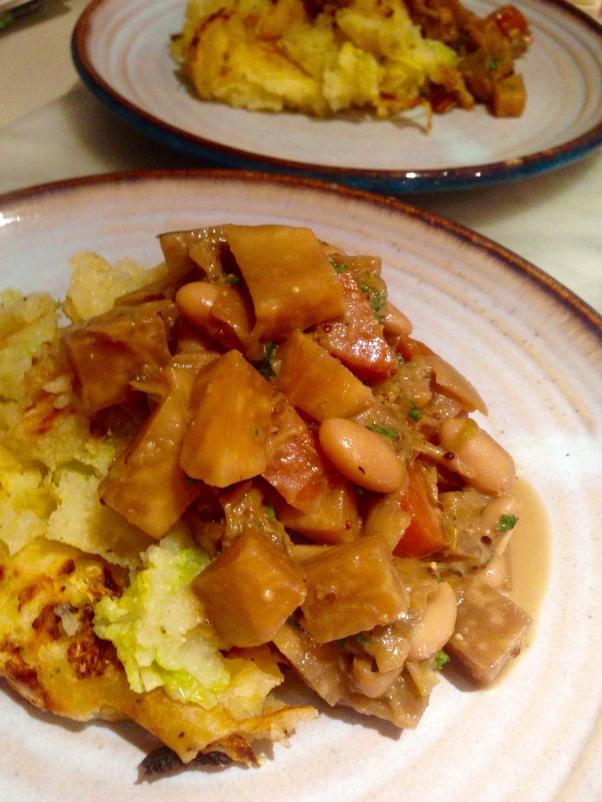 celeriac, ale and bean stew