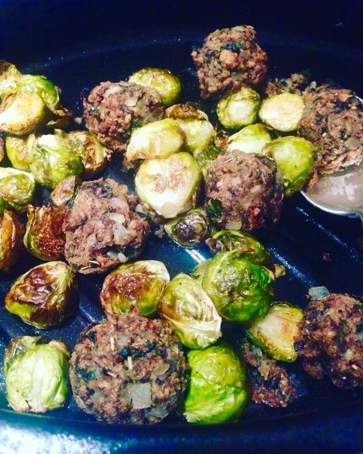vegan christmas stuffing and sprouts