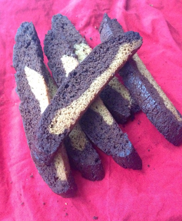 nut-free vegan cocoa and cinnamon biscotti