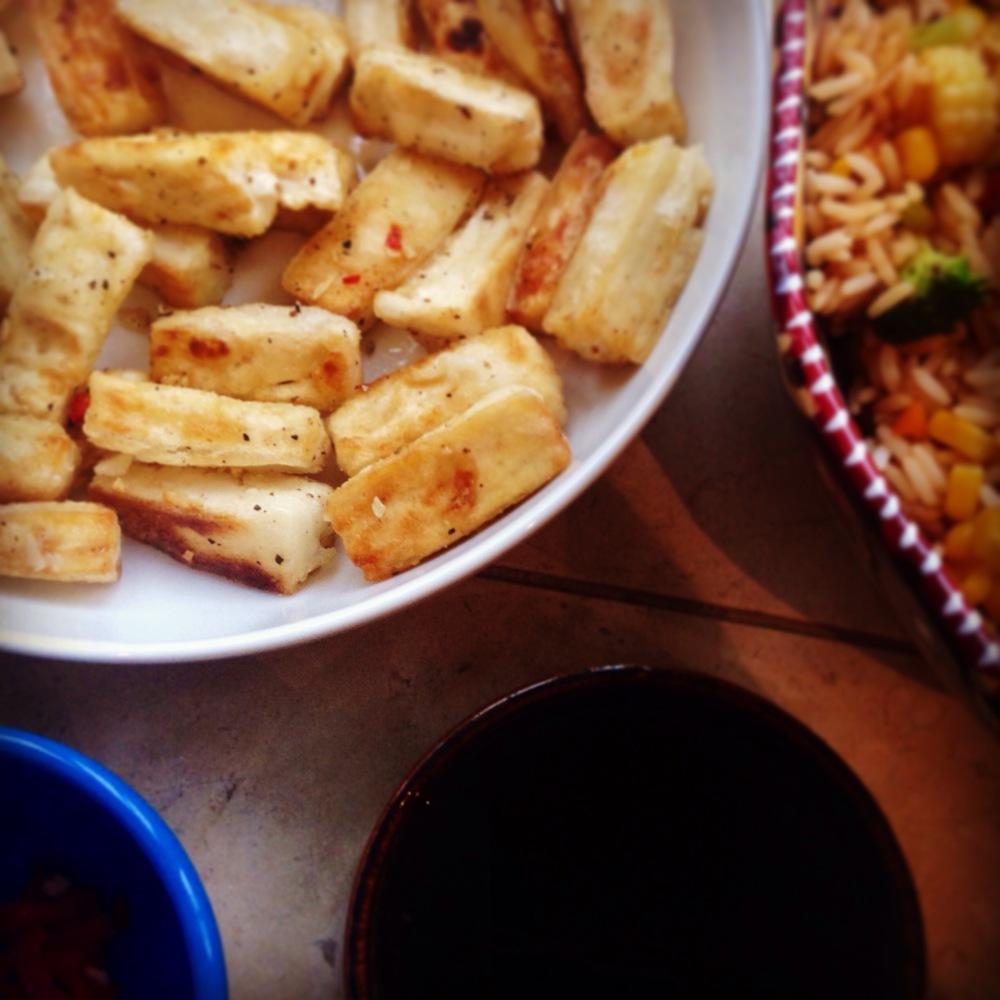 salt and pepper tofu with dipping sauce, vegan