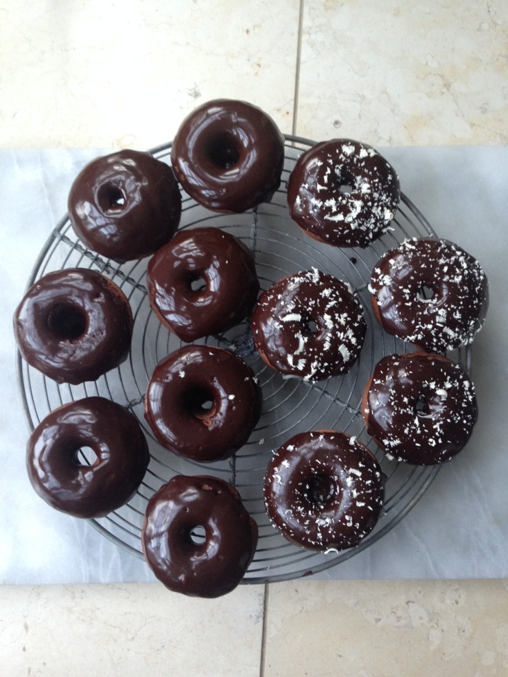 dairy-free baked chocolate donuts