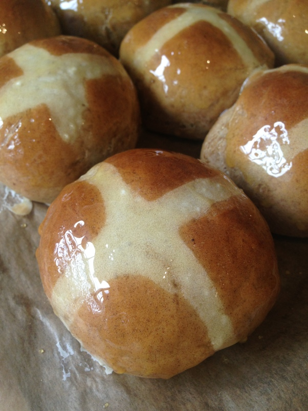 egg-free sticky toffee hot cross buns