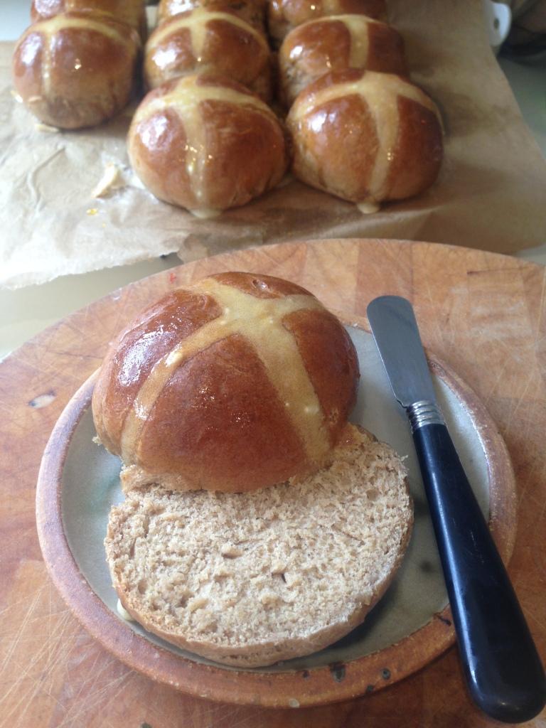 vegan sticky toffee hot cross buns