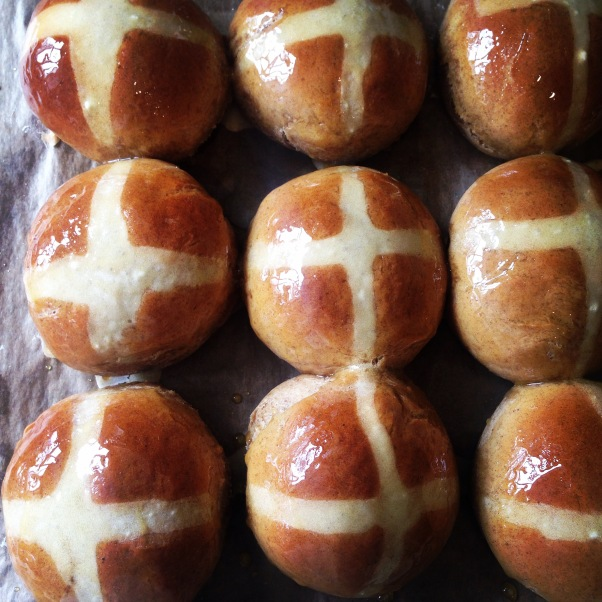 sticky toffee hot cross buns, dairy-free