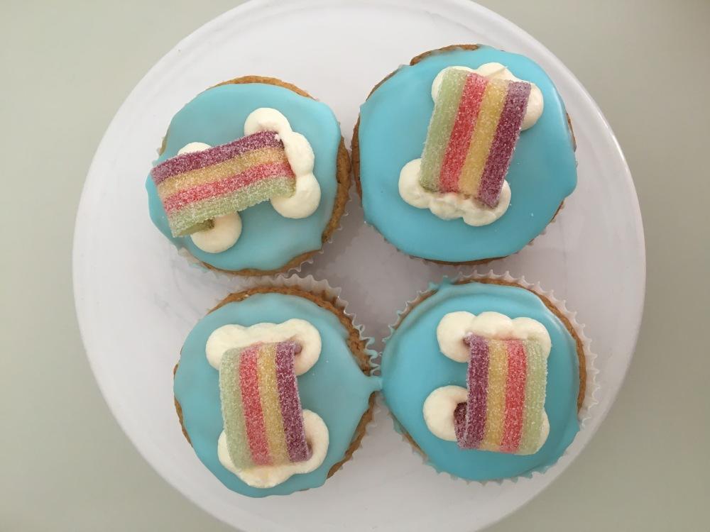 vegan nut-free rainbow cupcakes