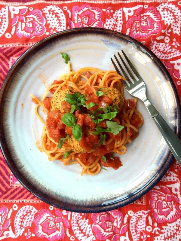 vegan, dairy-free pasta and meatballs