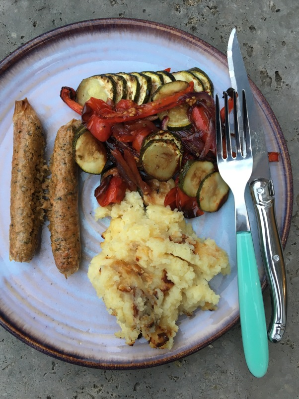 Dee's vegetarian sausages with roasted ratatouille and mash