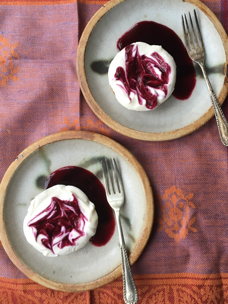mini blueberry swirl cheesecakes, dairy-free