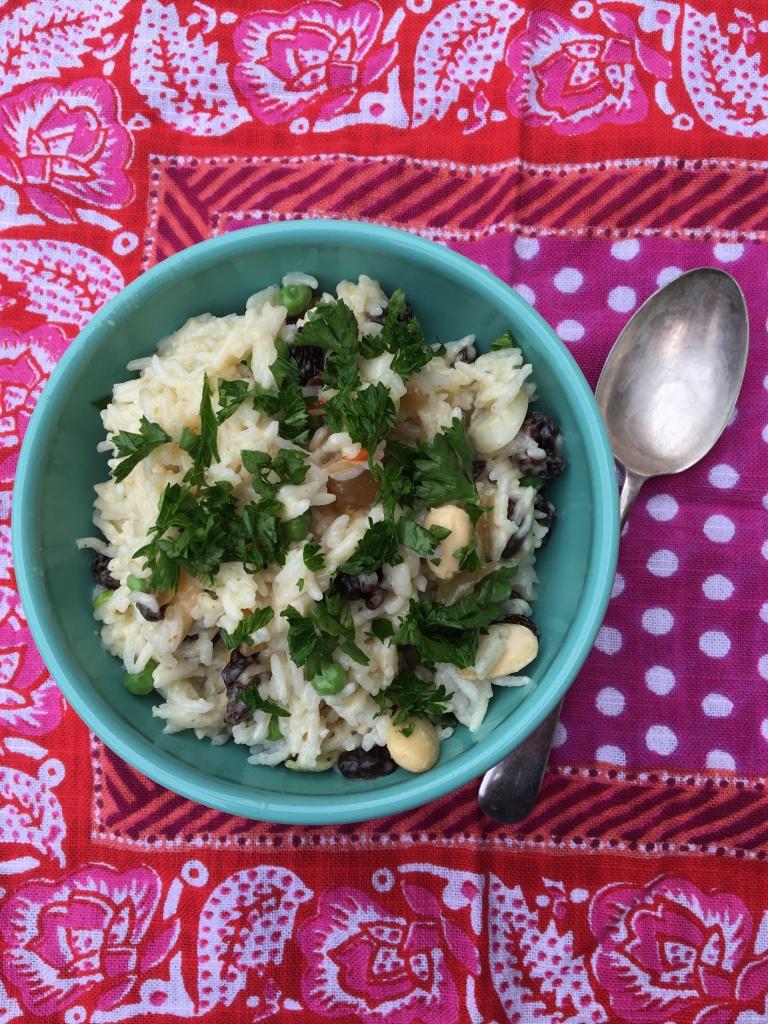 vegan coronation rice salad