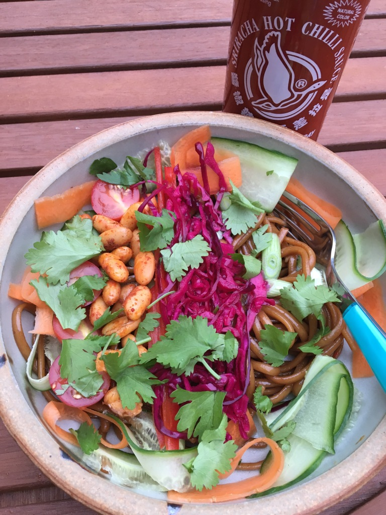 vegetarian noodle salad, Bahn Mi style