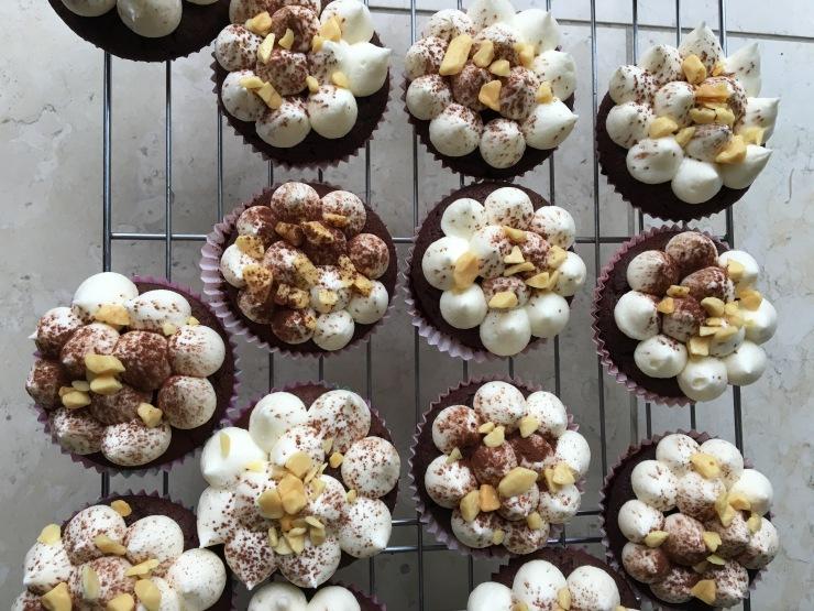 salted caramel buttercream on chocolate cupcakes, vegan