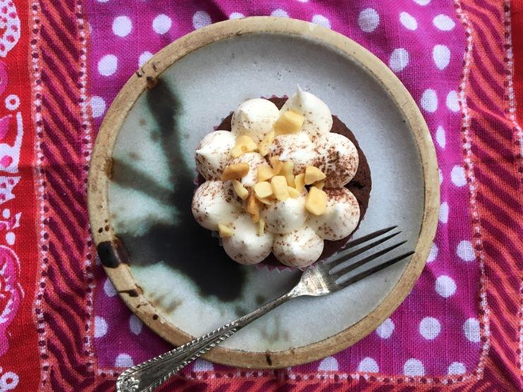 nut-free, dairy-free chocolate cupcakes, caramel icing