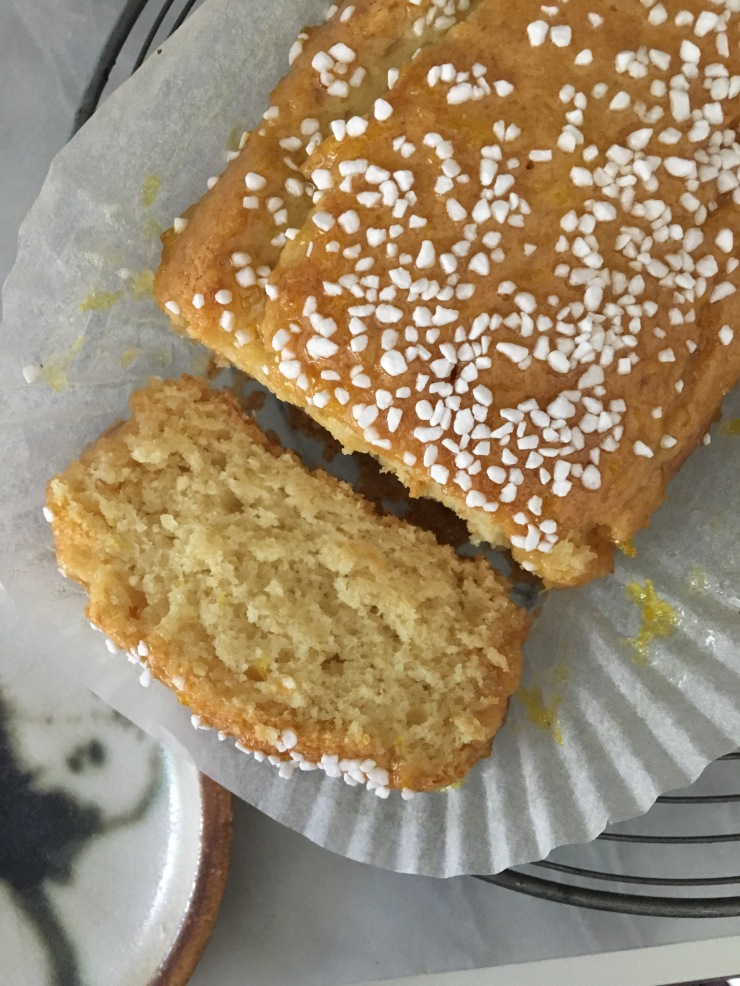 dairy-free egg-free lemon sherbet drizzle cake