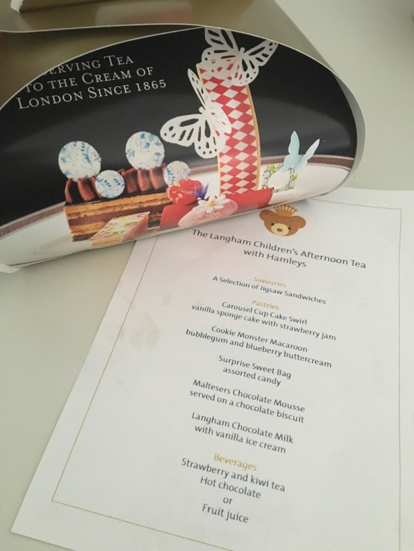children's afternoon tea menu at The Langham Hotel