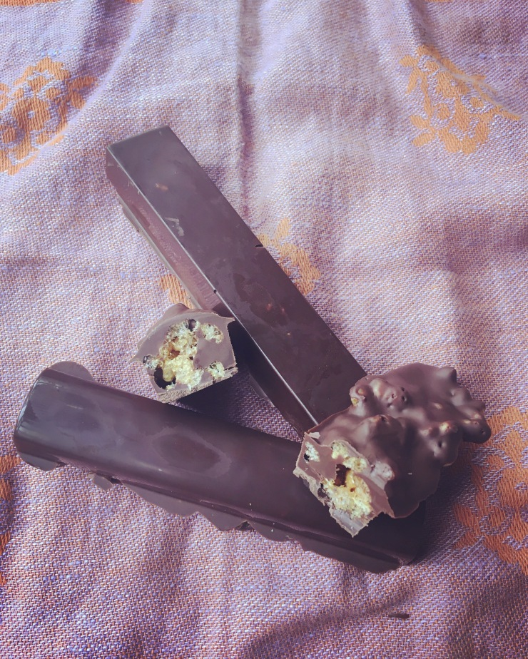 homemade dairy-free toffee crisp chocolate bars, vegan