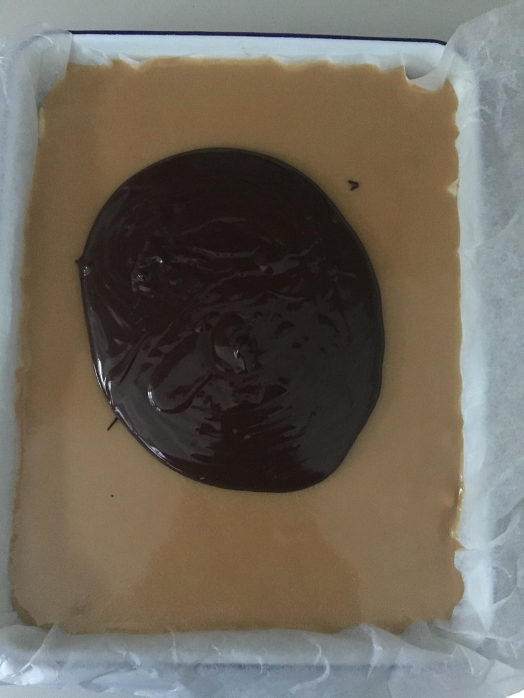 chocolate over caramel