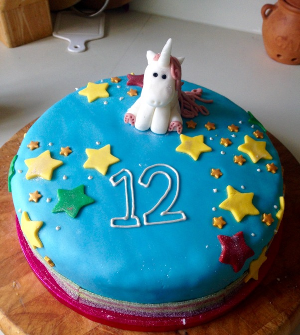 Unicorn birthday cake, dairy-free egg-free