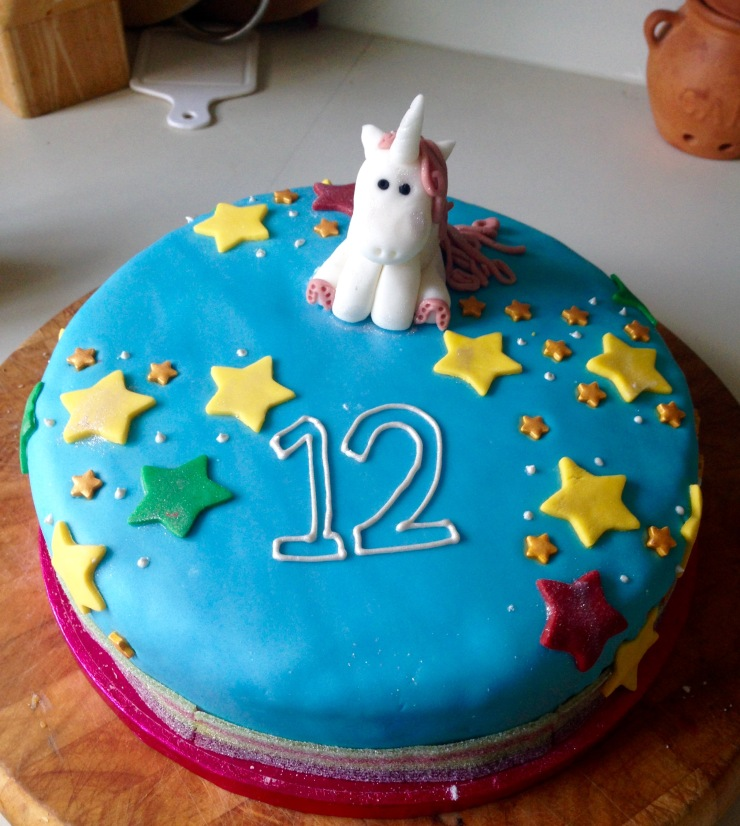 Unicorn birthday cake, dairy-free egg-free