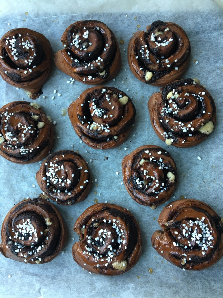 triple chocolate swirl buns, dairy-free and egg-free