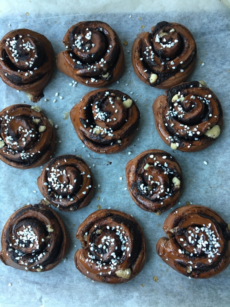 triple chocolate swirl buns, dairy-free and egg-free