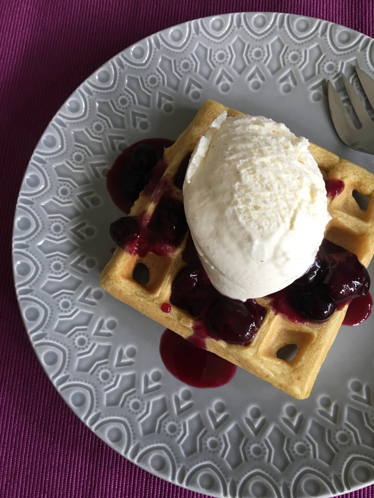 waffles and blueberry compote